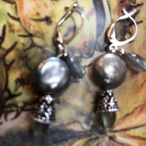 Casey Keith Design Jewelry - Coin Pearl & Labradorite Earring
